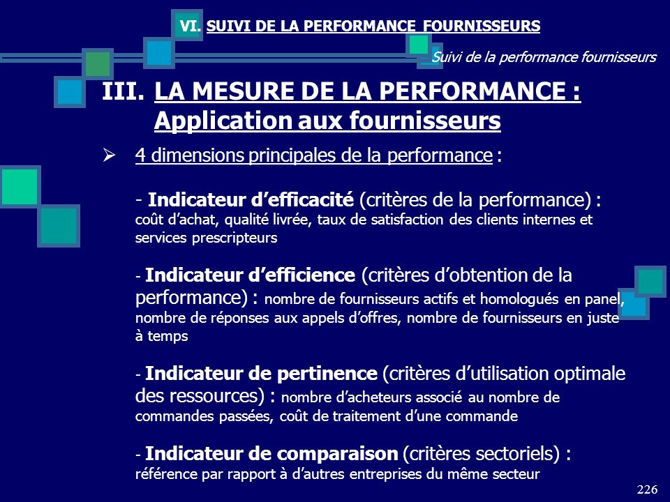 226 Suivi de la performance fournisseurs VI. SUIVI DE LA PERFORMANCE FOURNISSEURS III.LA MESURE DE LA PERFORMANCE : Application aux fournisseurs 4 dim