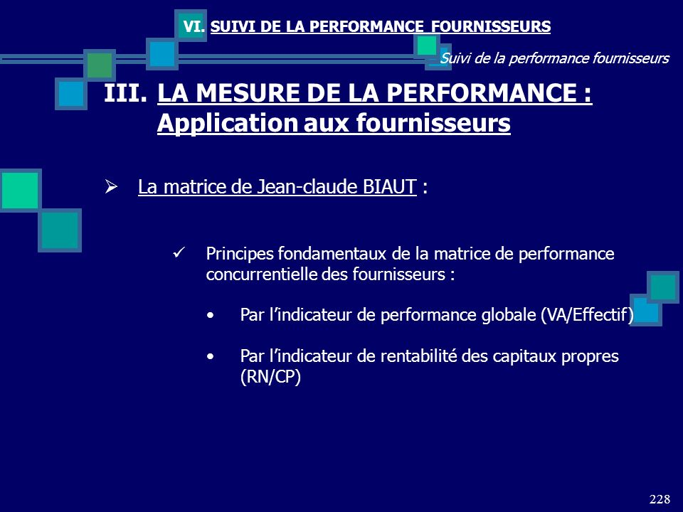 228 Suivi de la performance fournisseurs VI. SUIVI DE LA PERFORMANCE FOURNISSEURS III.LA MESURE DE LA PERFORMANCE : Application aux fournisseurs La ma