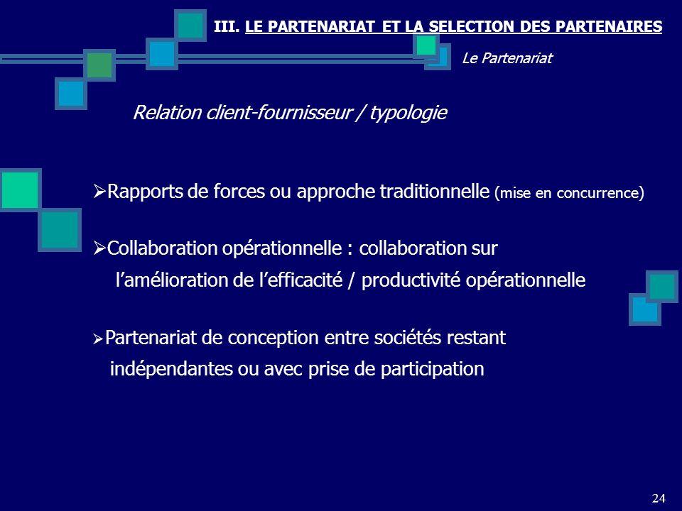 III. LE PARTENARIAT ET LA SELECTION DES PARTENAIRES Relation client-fournisseur / typologie 24 Le Partenariat Rapports de forces ou approche tradition
