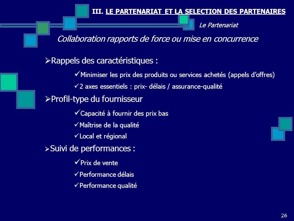 III. LE PARTENARIAT ET LA SELECTION DES PARTENAIRES Collaboration rapports de force ou mise en concurrence 26 Le Partenariat Rappels des caractéristiq