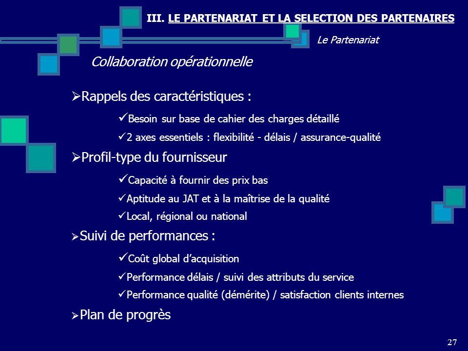 III. LE PARTENARIAT ET LA SELECTION DES PARTENAIRES Collaboration opérationnelle 27 Le Partenariat Rappels des caractéristiques : Besoin sur base de c