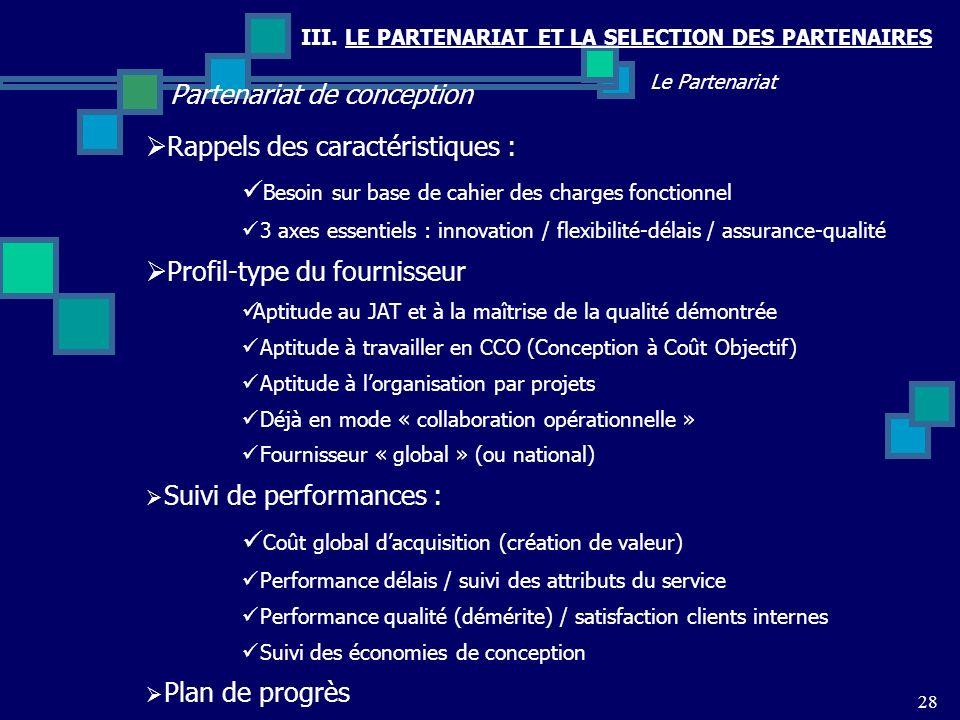 III. LE PARTENARIAT ET LA SELECTION DES PARTENAIRES Partenariat de conception 28 Le Partenariat Rappels des caractéristiques : Besoin sur base de cahi