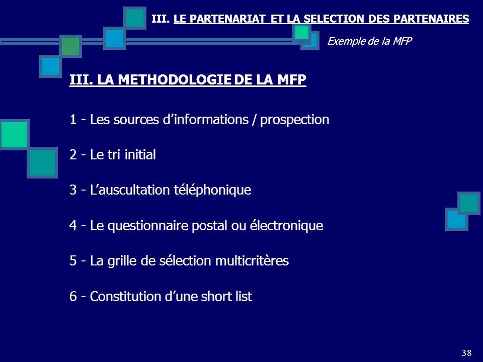 III. LE PARTENARIAT ET LA SELECTION DES PARTENAIRES 38 Exemple de la MFP 1 - Les sources dinformations / prospection 2 - Le tri initial 3 - Lauscultat