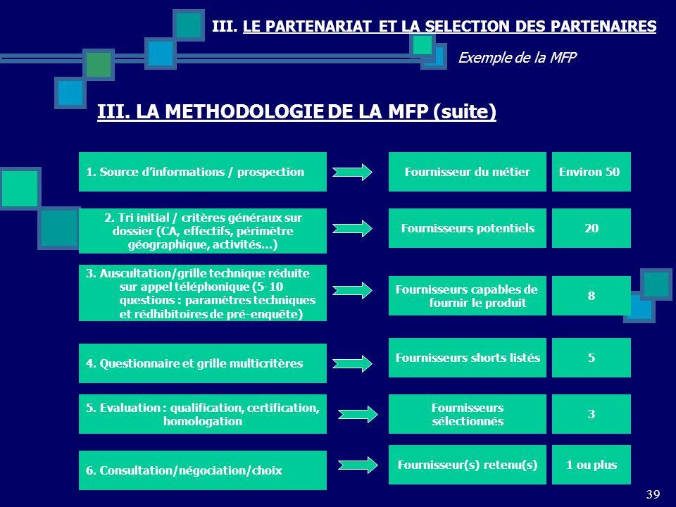 III. LE PARTENARIAT ET LA SELECTION DES PARTENAIRES 39 Exemple de la MFP III. LA METHODOLOGIE DE LA MFP (suite) 1. Source dinformations / prospectionF