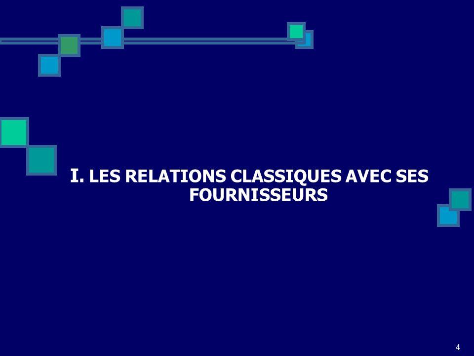 I. LES RELATIONS CLASSIQUES AVEC SES FOURNISSEURS 4