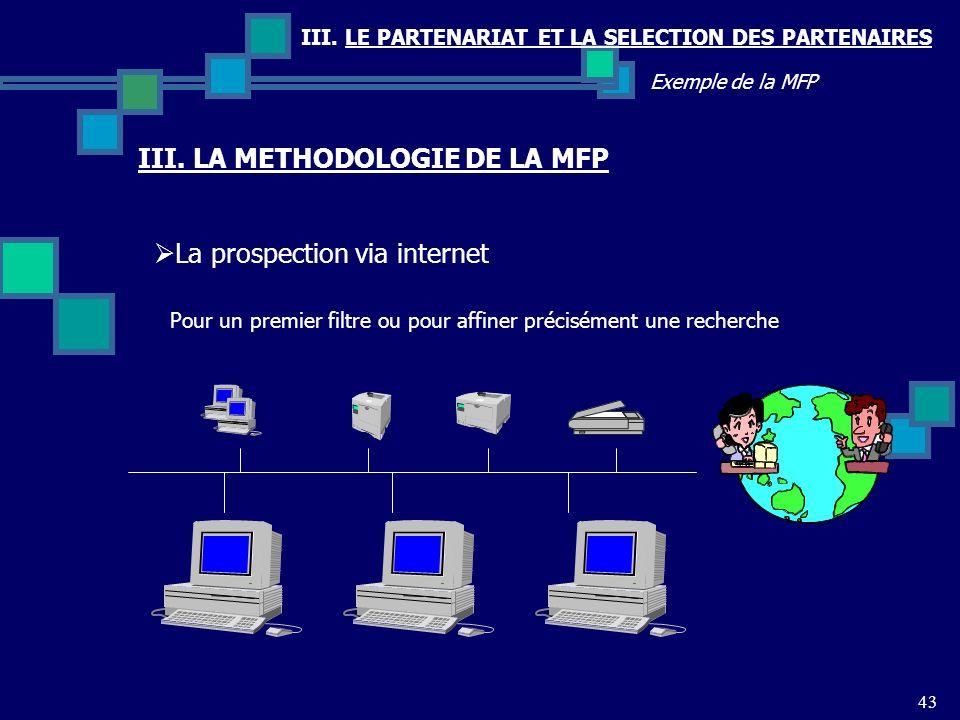 III. LE PARTENARIAT ET LA SELECTION DES PARTENAIRES 43 Exemple de la MFP La prospection via internet III. LA METHODOLOGIE DE LA MFP Pour un premier fi