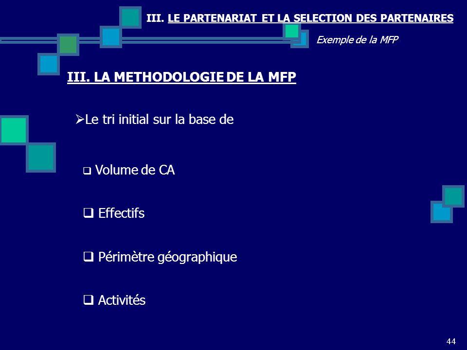 III. LE PARTENARIAT ET LA SELECTION DES PARTENAIRES 44 Exemple de la MFP Le tri initial sur la base de III. LA METHODOLOGIE DE LA MFP Volume de CA Eff