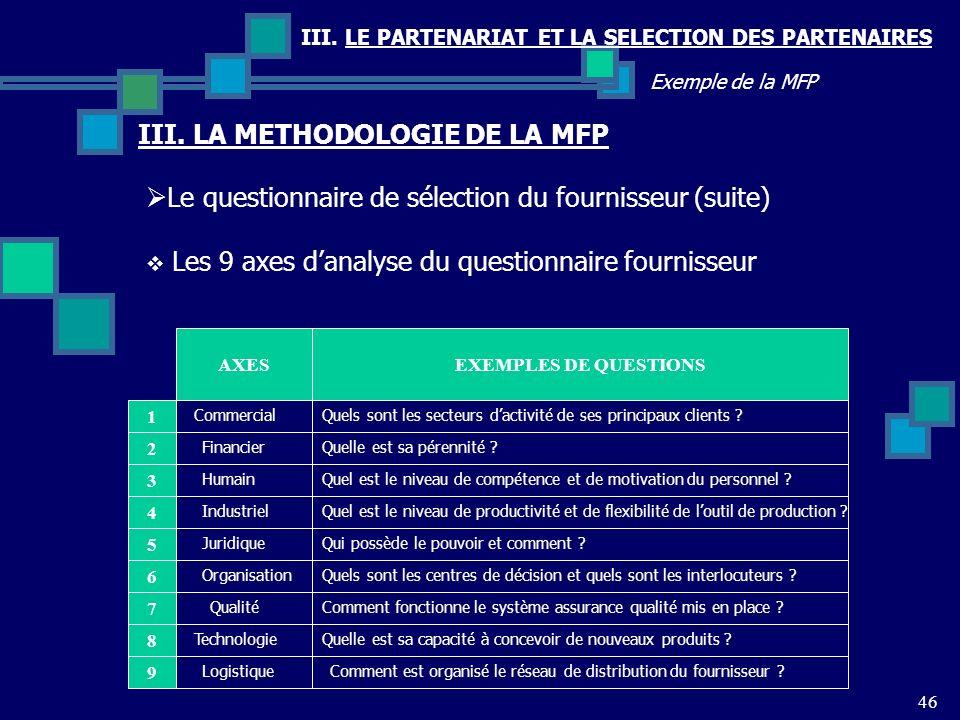 III. LE PARTENARIAT ET LA SELECTION DES PARTENAIRES 46 Exemple de la MFP Le questionnaire de sélection du fournisseur (suite) III. LA METHODOLOGIE DE