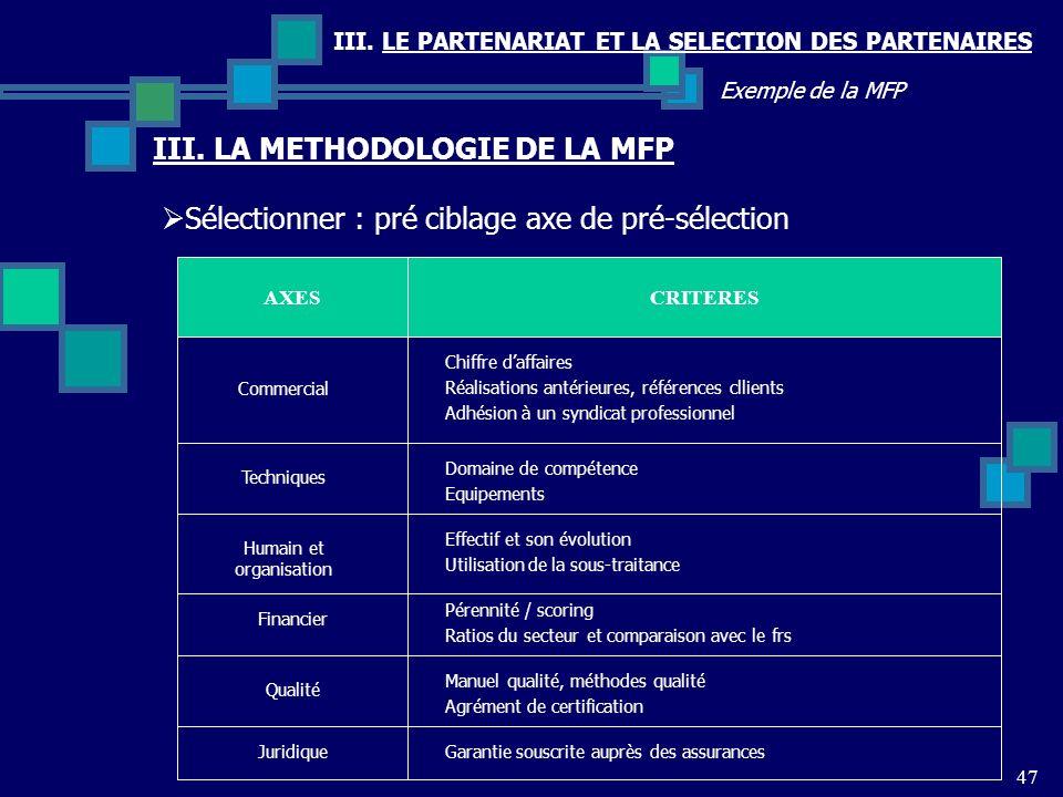 III. LE PARTENARIAT ET LA SELECTION DES PARTENAIRES 47 Exemple de la MFP Sélectionner : pré ciblage axe de pré-sélection III. LA METHODOLOGIE DE LA MF
