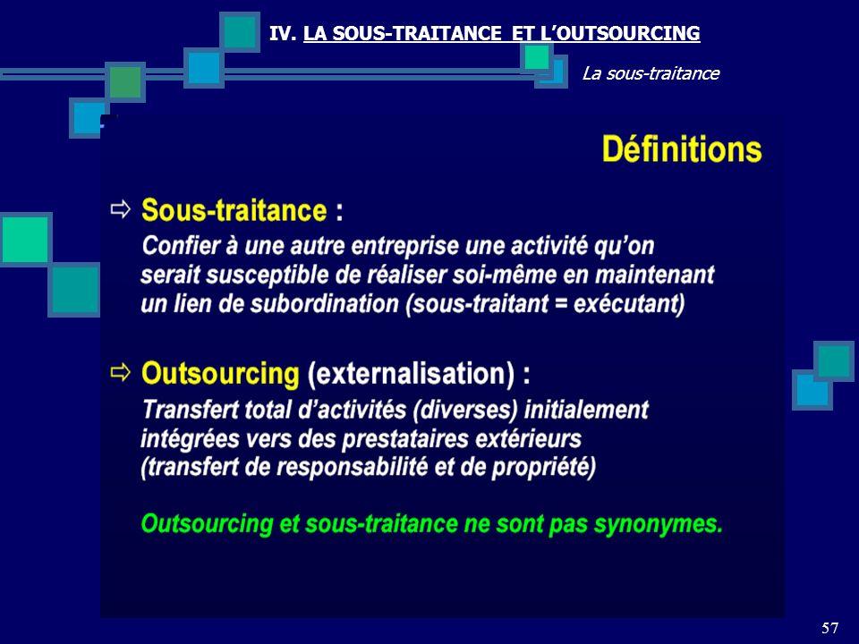 IV. LA SOUS-TRAITANCE ET LOUTSOURCING 57 La sous-traitance
