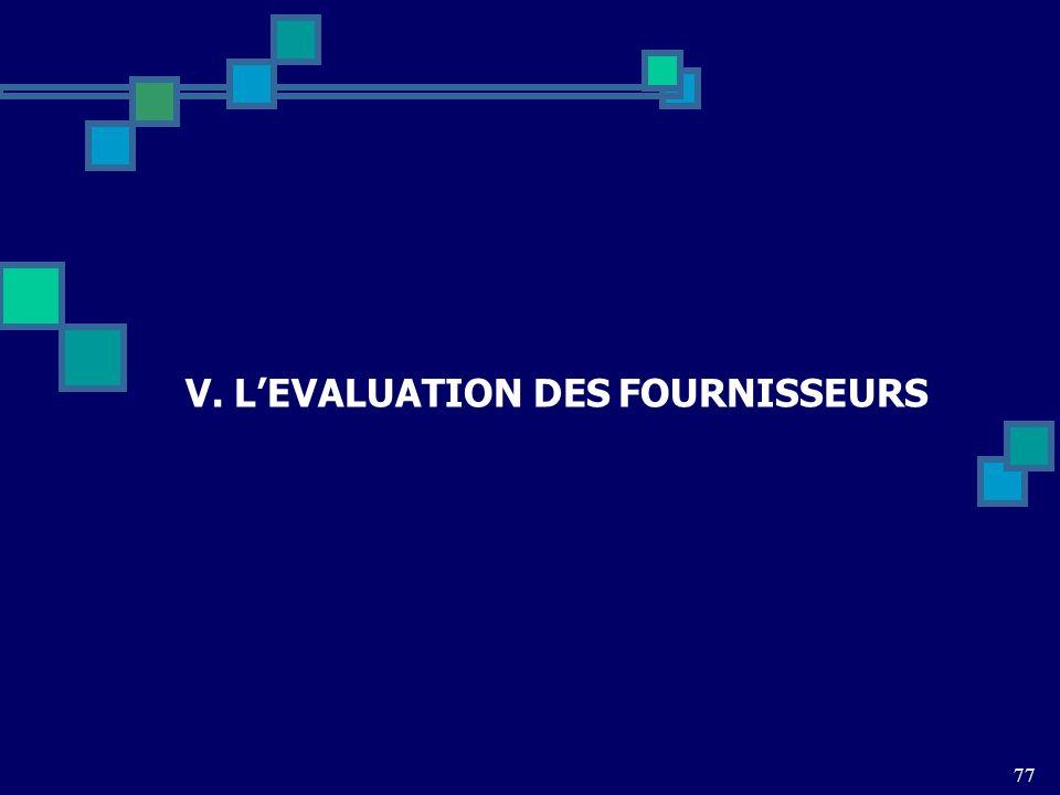 V. LEVALUATION DES FOURNISSEURS 77