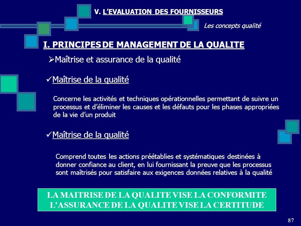 87 Les concepts qualité V. LEVALUATION DES FOURNISSEURS Maîtrise et assurance de la qualité I. PRINCIPES DE MANAGEMENT DE LA QUALITE Concerne les acti