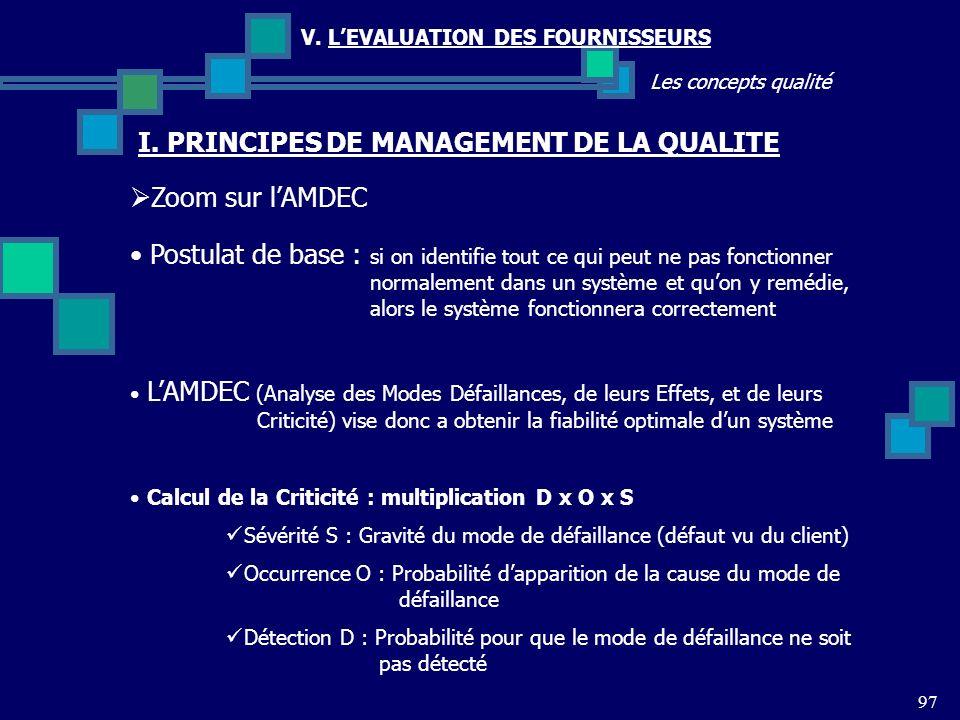97 Les concepts qualité V. LEVALUATION DES FOURNISSEURS Zoom sur lAMDEC I. PRINCIPES DE MANAGEMENT DE LA QUALITE Postulat de base : si on identifie to