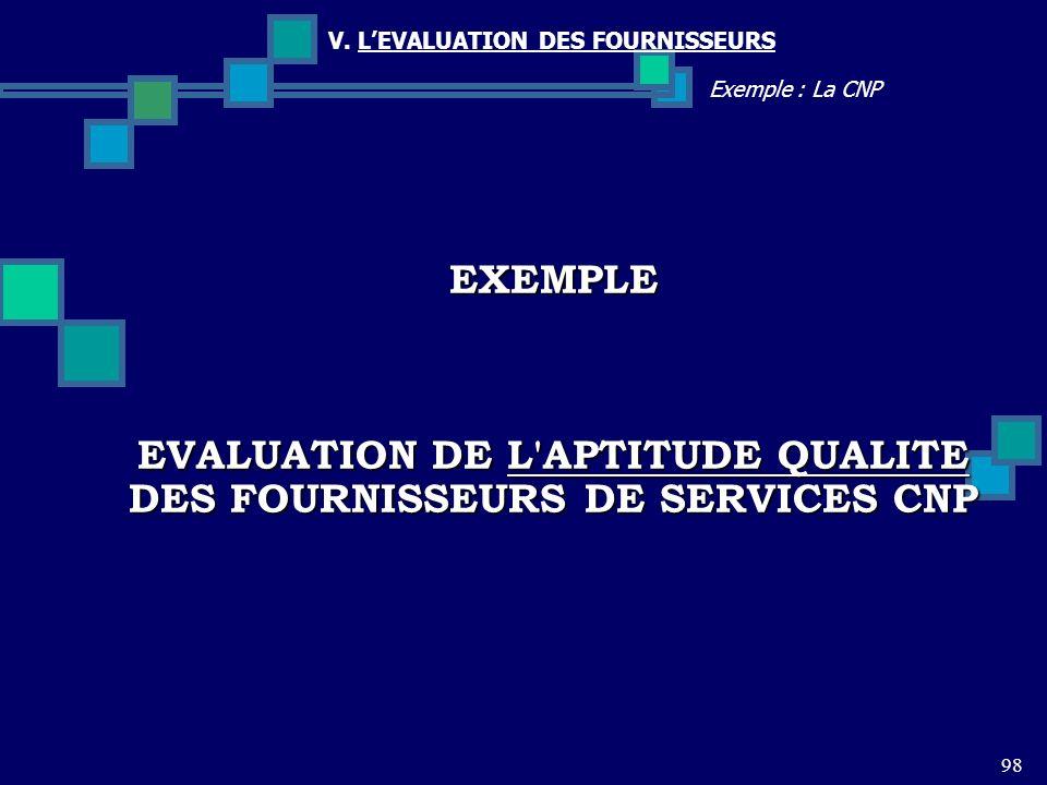 98 Exemple : La CNP V. LEVALUATION DES FOURNISSEURS EXEMPLE EVALUATION DE L'APTITUDE QUALITE DES FOURNISSEURS DE SERVICES CNP