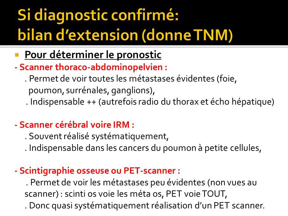 Pour déterminer le pronostic - Scanner thoraco-abdominopelvien :. Permet de voir toutes les métastases évidentes (foie, poumon, surrénales, ganglions)