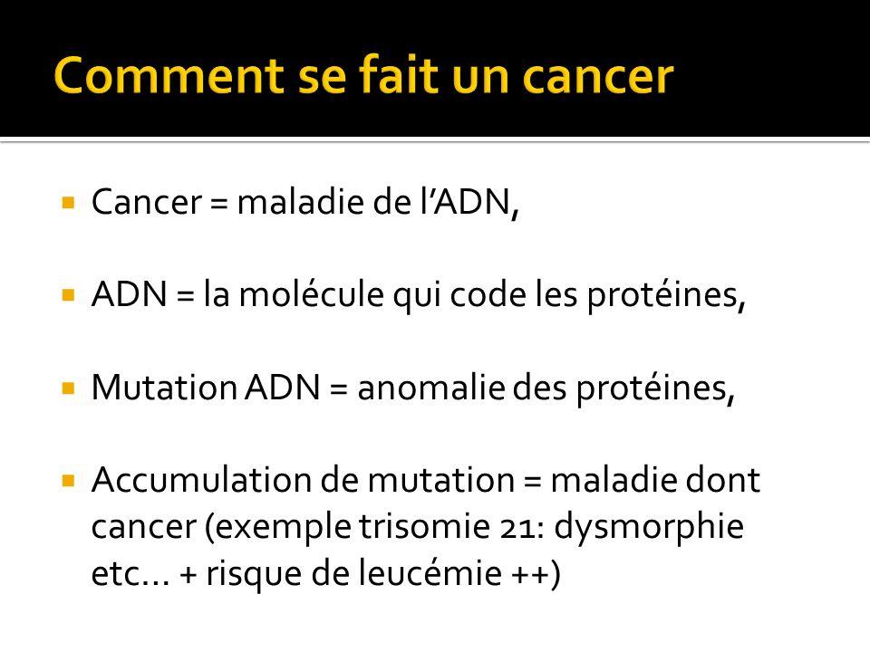 Cancer = maladie de lADN, ADN = la molécule qui code les protéines, Mutation ADN = anomalie des protéines, Accumulation de mutation = maladie dont can