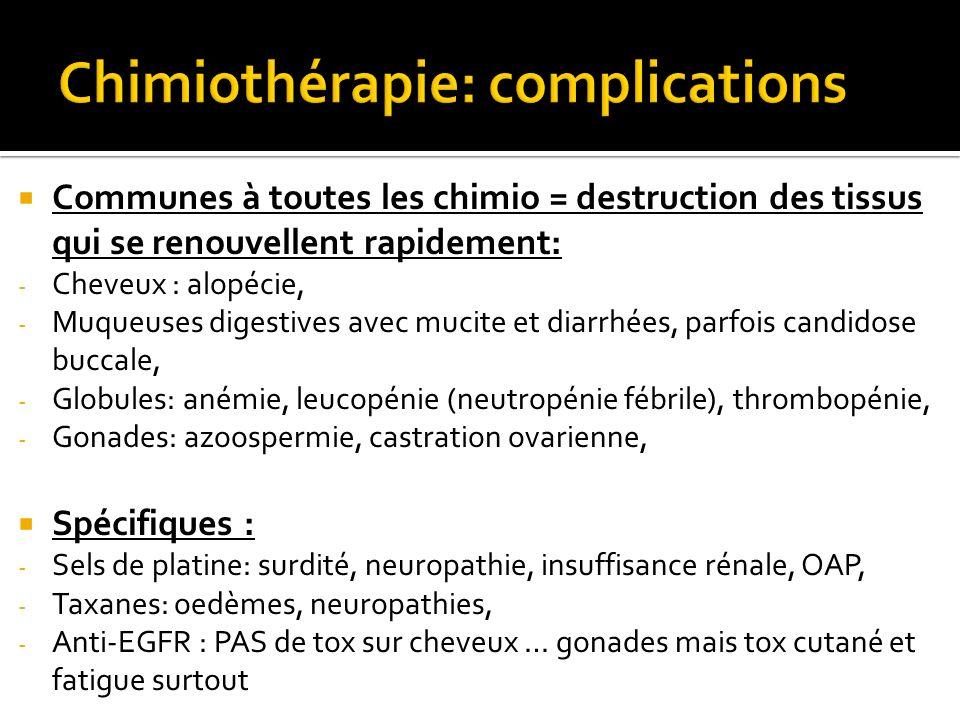 Communes à toutes les chimio = destruction des tissus qui se renouvellent rapidement: - Cheveux : alopécie, - Muqueuses digestives avec mucite et diar
