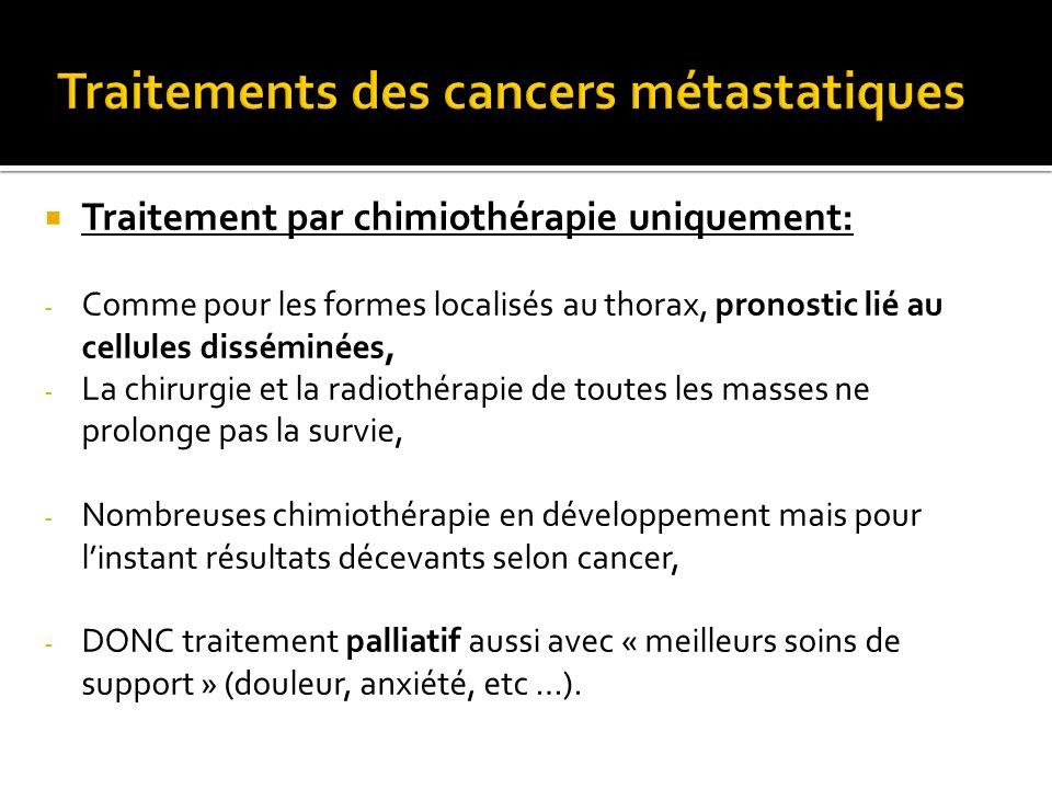 Traitement par chimiothérapie uniquement: - Comme pour les formes localisés au thorax, pronostic lié au cellules disséminées, - La chirurgie et la rad