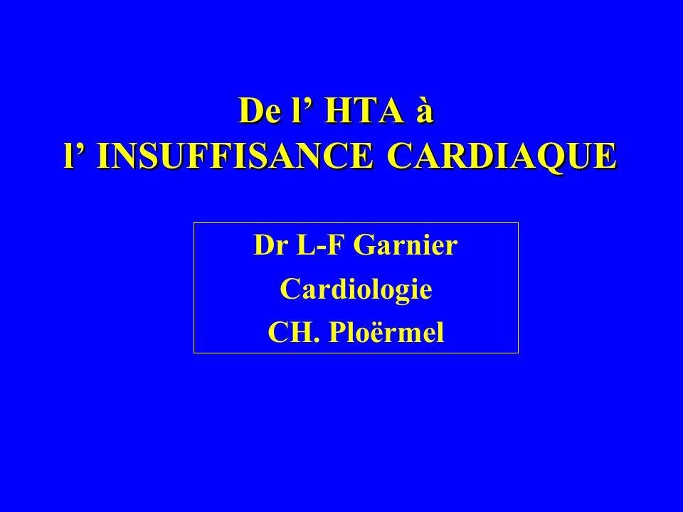 De l HTA à l INSUFFISANCE CARDIAQUE Dr L-F Garnier Cardiologie CH. Ploërmel