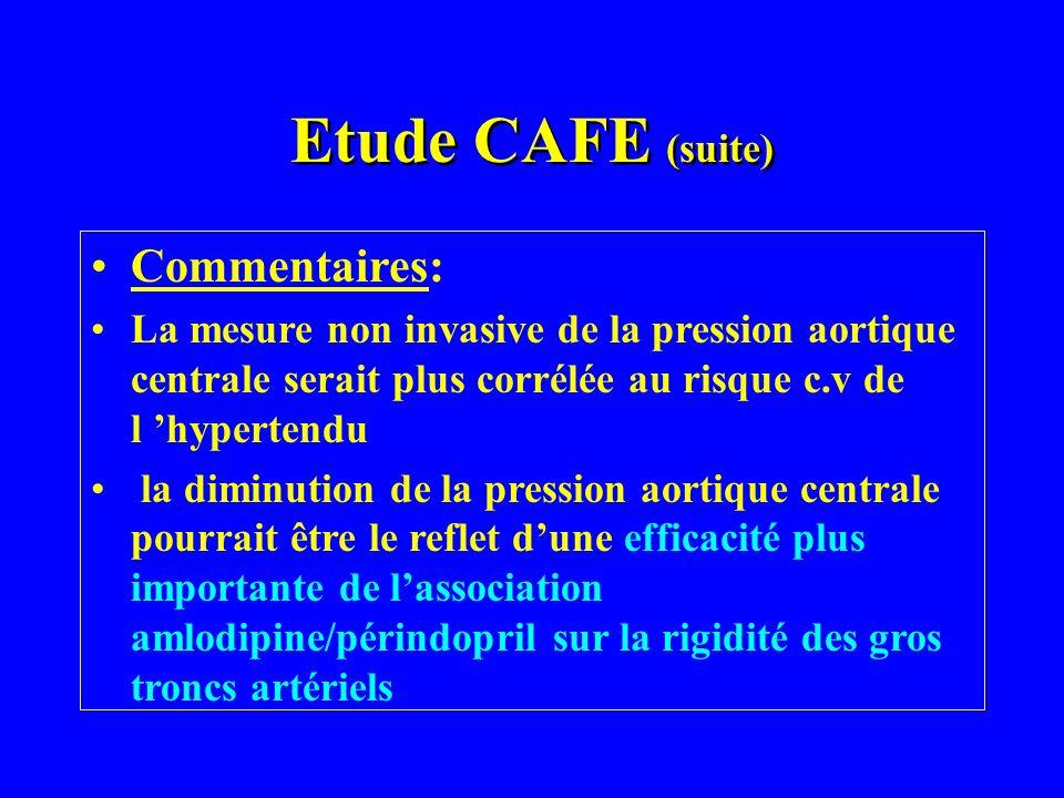 Etude CAFE (suite) Commentaires: La mesure non invasive de la pression aortique centrale serait plus corrélée au risque c.v de l hypertendu la diminut