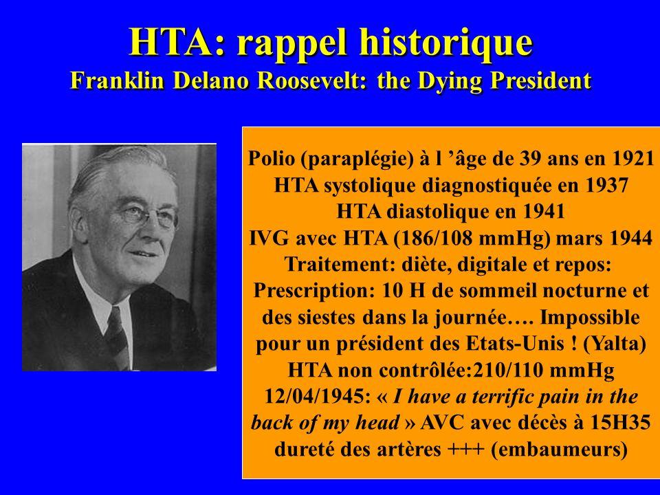 HTA: rappel historique Franklin Delano Roosevelt: the Dying President Polio (paraplégie) à l âge de 39 ans en 1921 HTA systolique diagnostiquée en 193