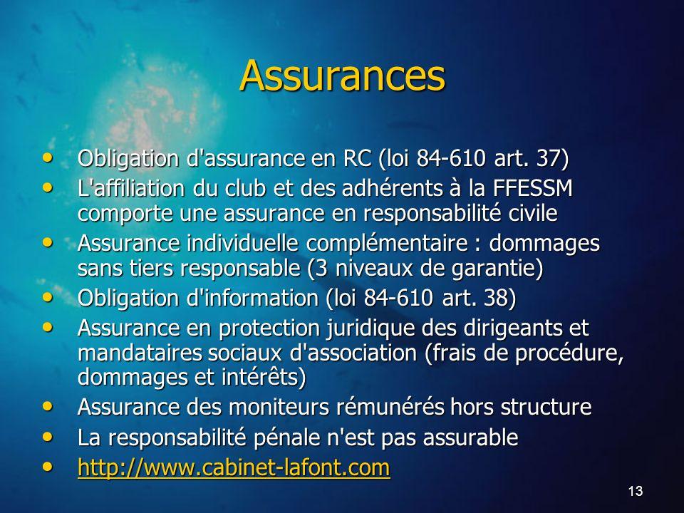 13 Assurances Obligation d'assurance en RC (loi 84-610 art. 37) Obligation d'assurance en RC (loi 84-610 art. 37) L'affiliation du club et des adhéren