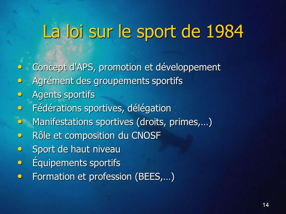 14 La loi sur le sport de 1984 Concept d'APS, promotion et développement Concept d'APS, promotion et développement Agrément des groupements sportifs A
