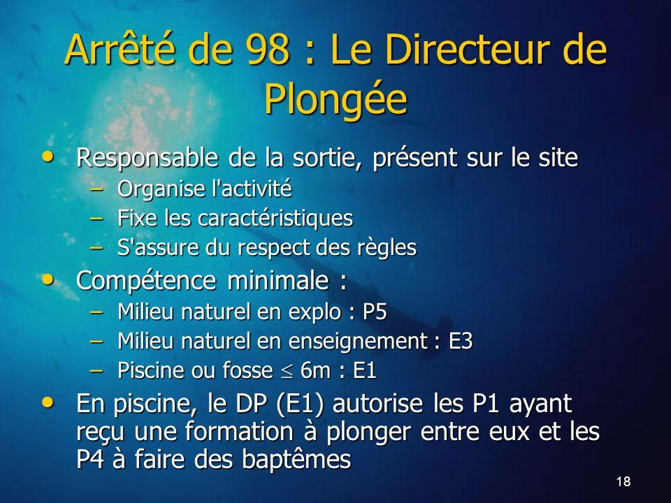 18 Arrêté de 98 : Le Directeur de Plongée Responsable de la sortie, présent sur le site Responsable de la sortie, présent sur le site –Organise l'acti