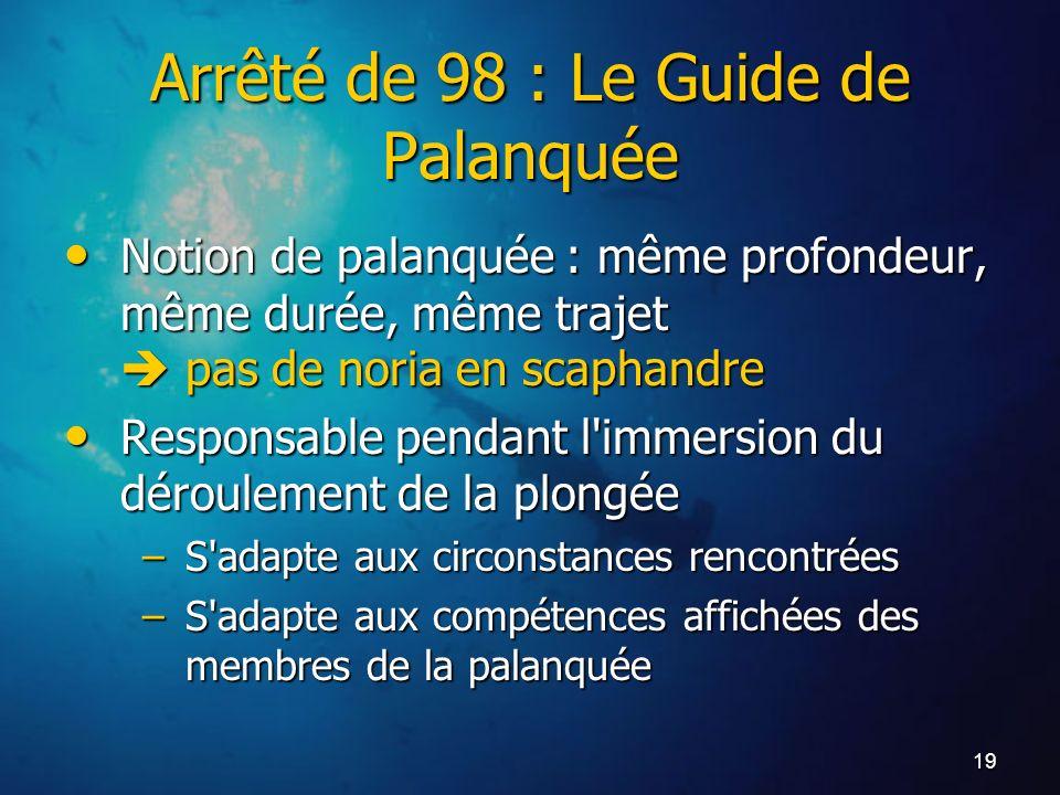 19 Arrêté de 98 : Le Guide de Palanquée Notion de palanquée : même profondeur, même durée, même trajet pas de noria en scaphandre Notion de palanquée