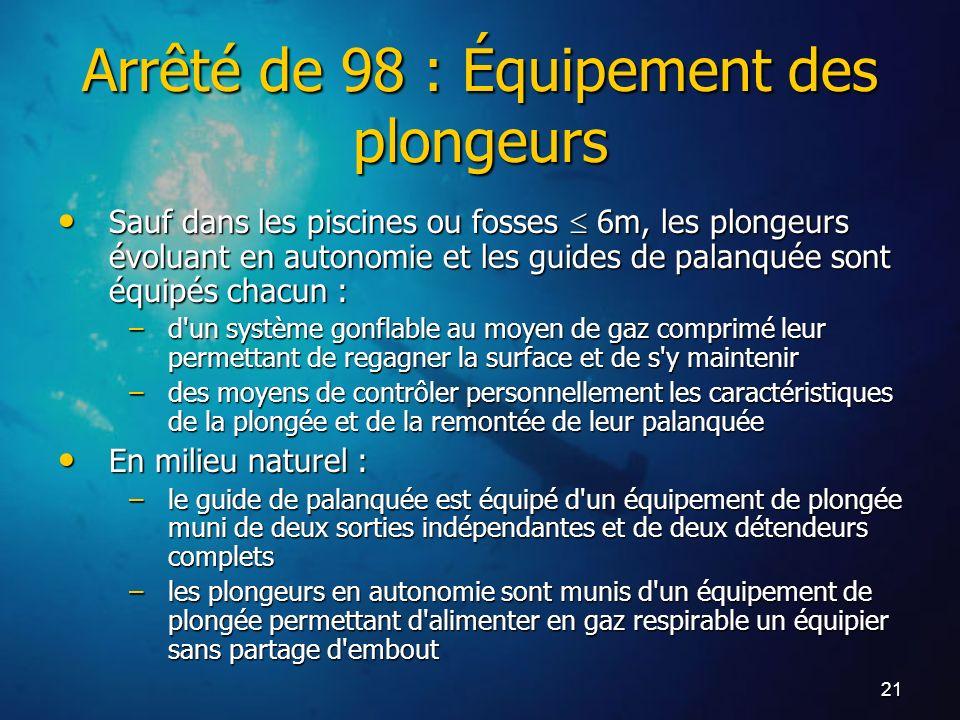 21 Arrêté de 98 : Équipement des plongeurs Sauf dans les piscines ou fosses 6m, les plongeurs évoluant en autonomie et les guides de palanquée sont éq