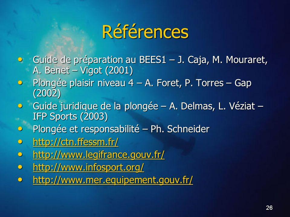 26 Références Guide de préparation au BEES1 – J. Caja, M. Mouraret, A. Benet – Vigot (2001) Guide de préparation au BEES1 – J. Caja, M. Mouraret, A. B