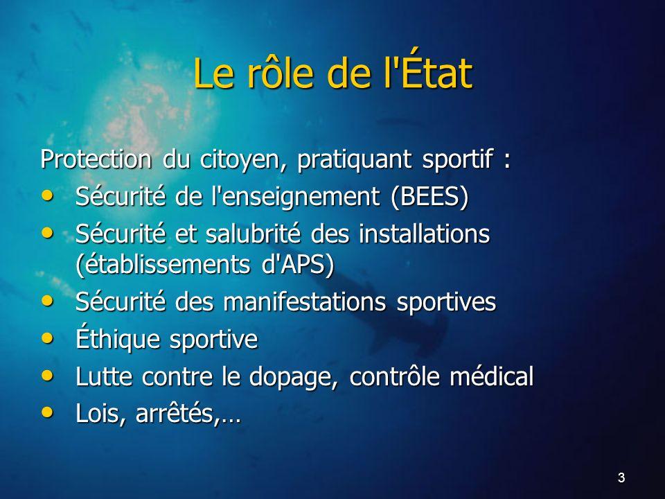 3 Le rôle de l'État Protection du citoyen, pratiquant sportif : Sécurité de l'enseignement (BEES) Sécurité de l'enseignement (BEES) Sécurité et salubr