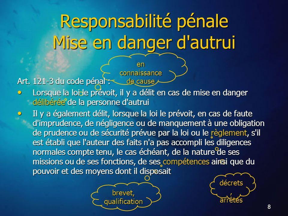 8 brevet, qualification en connaissance de cause décrets, arrêtés Art. 121-3 du code pénal : Lorsque la loi le prévoit, il y a délit en cas de mise en