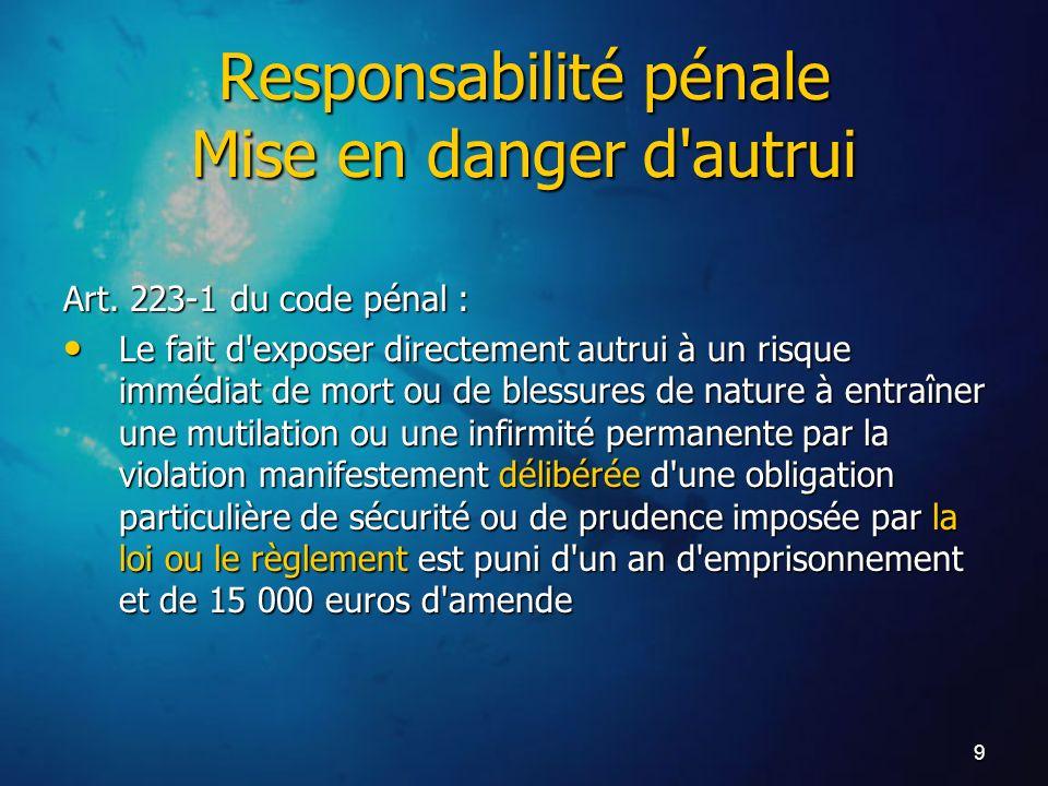 9 Art. 223-1 du code pénal : Le fait d'exposer directement autrui à un risque immédiat de mort ou de blessures de nature à entraîner une mutilation ou