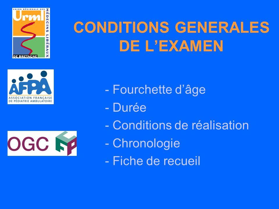 CONDITIONS GENERALES DE LEXAMEN - Fourchette dâge - Durée - Conditions de réalisation - Chronologie - Fiche de recueil