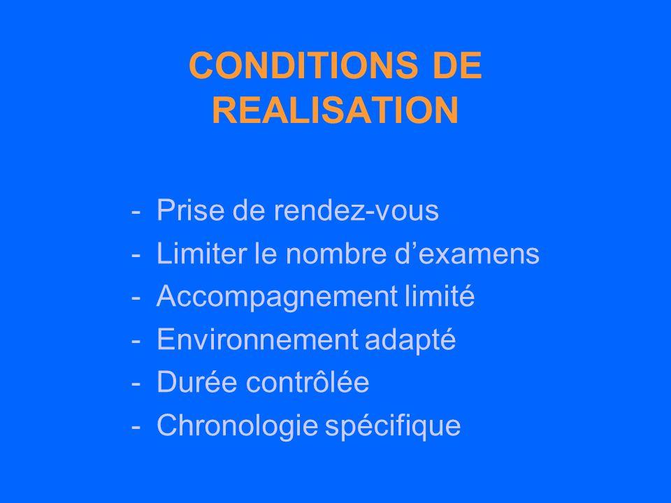 CONDITIONS DE REALISATION -Prise de rendez-vous -Limiter le nombre dexamens -Accompagnement limité -Environnement adapté -Durée contrôlée -Chronologie