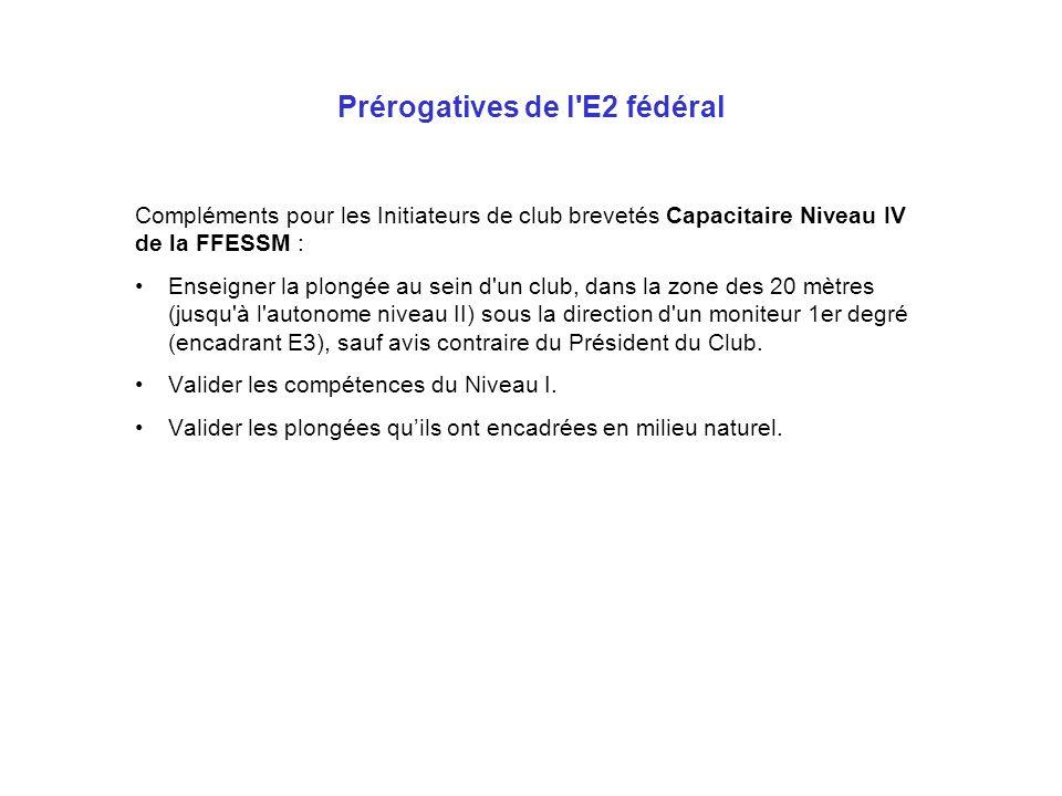 Prérogatives de l'E2 fédéral Compléments pour les Initiateurs de club brevetés Capacitaire Niveau IV de la FFESSM : Enseigner la plongée au sein d'un