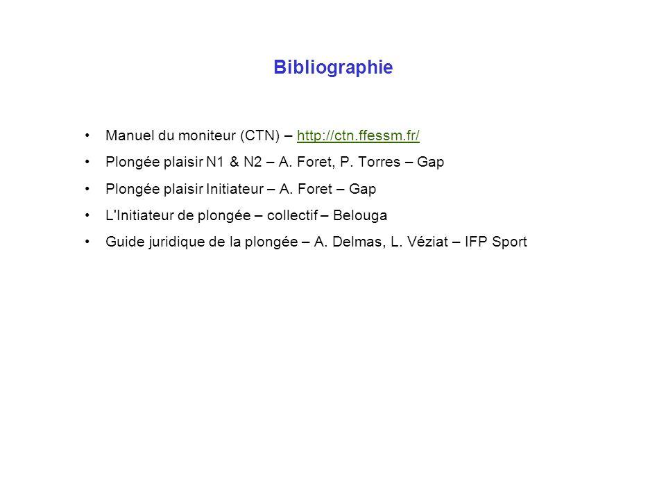 Bibliographie Manuel du moniteur (CTN) – http://ctn.ffessm.fr/http://ctn.ffessm.fr/ Plongée plaisir N1 & N2 – A. Foret, P. Torres – Gap Plongée plaisi
