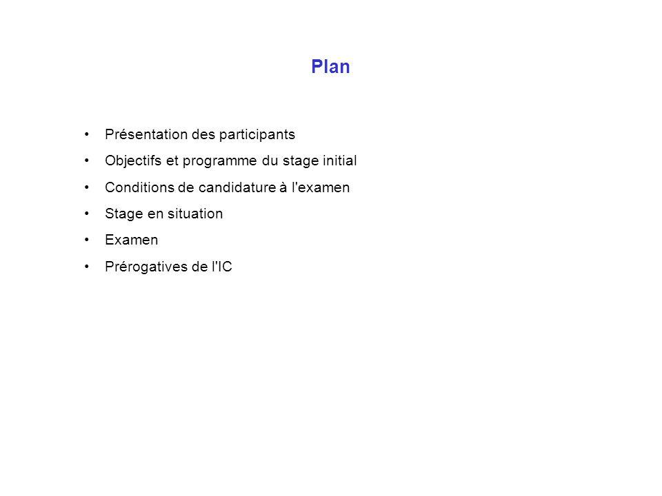 Plan Présentation des participants Objectifs et programme du stage initial Conditions de candidature à l'examen Stage en situation Examen Prérogatives