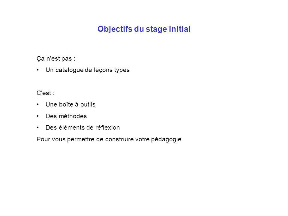 Objectifs du stage initial Ça n'est pas : Un catalogue de leçons types C'est : Une boîte à outils Des méthodes Des éléments de réflexion Pour vous per