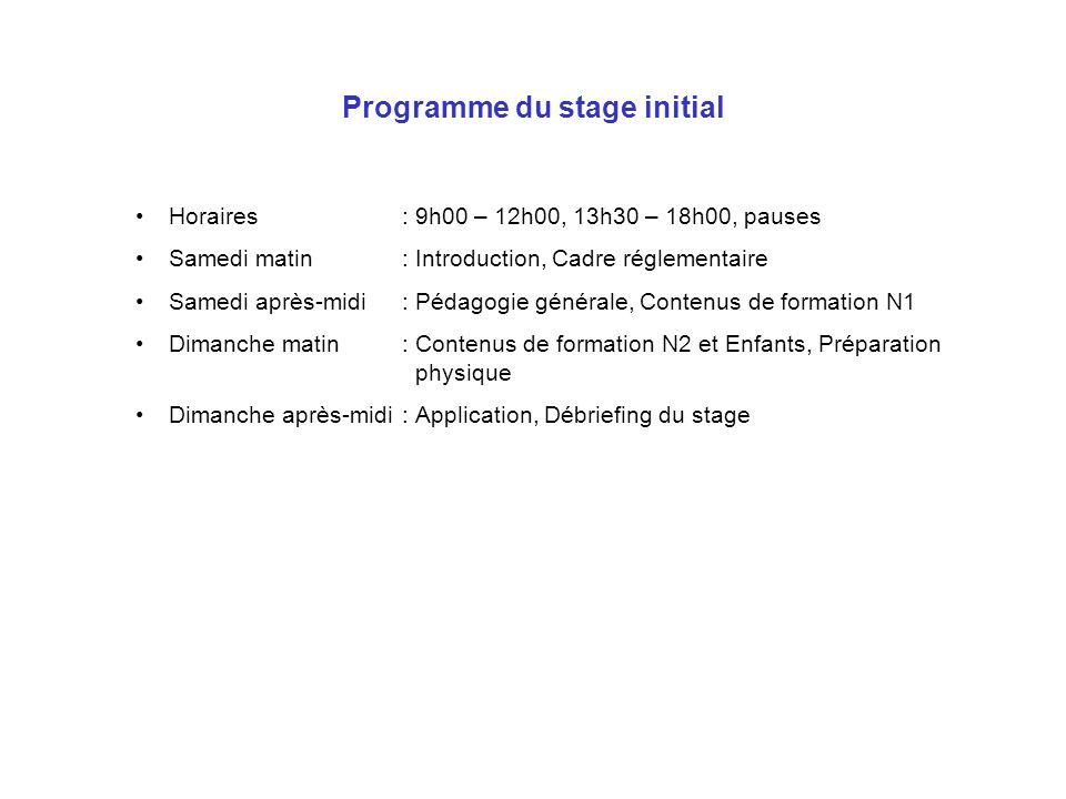 Programme du stage initial Horaires: 9h00 – 12h00, 13h30 – 18h00, pauses Samedi matin: Introduction, Cadre réglementaire Samedi après-midi: Pédagogie