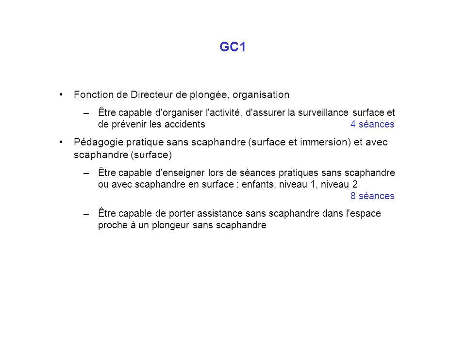 GC1 Fonction de Directeur de plongée, organisation –Être capable d'organiser l'activité, d'assurer la surveillance surface et de prévenir les accident