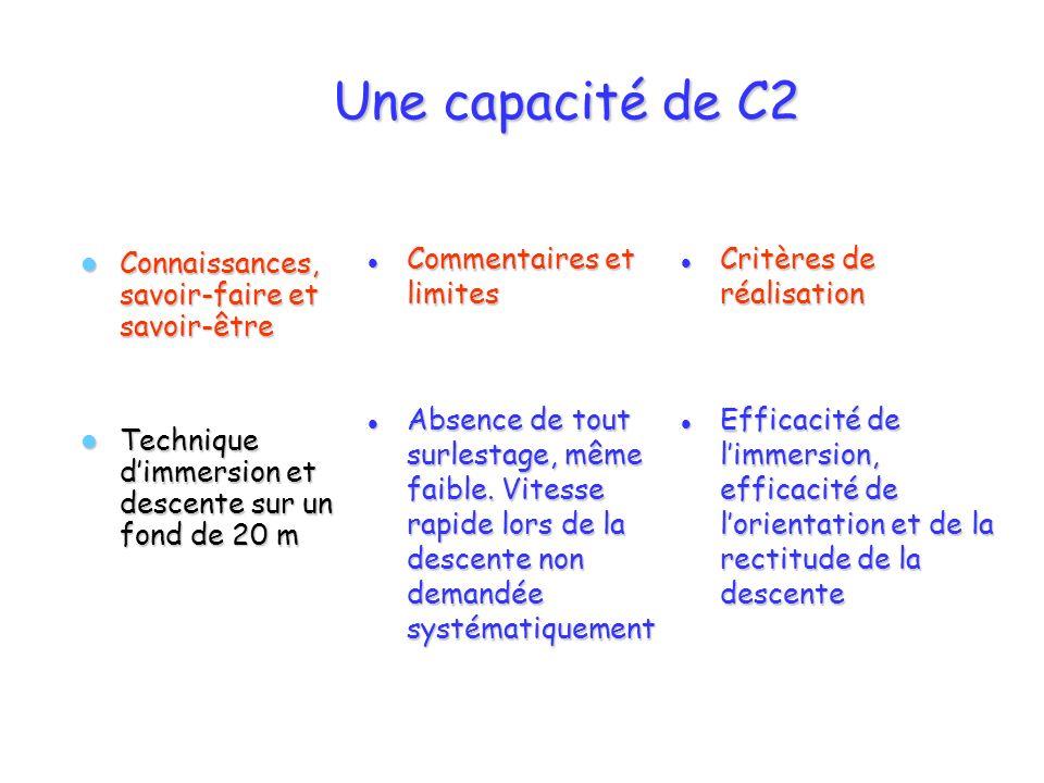 Une capacité de C2 Connaissances, savoir-faire et savoir-être Connaissances, savoir-faire et savoir-être Technique dimmersion et descente sur un fond