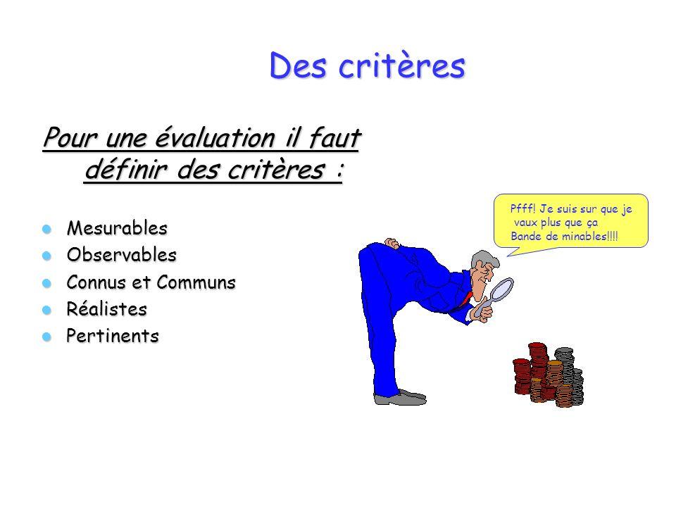 Des critères Pour une évaluation il faut définir des critères : Mesurables Mesurables Observables Observables Connus et Communs Connus et Communs Réal