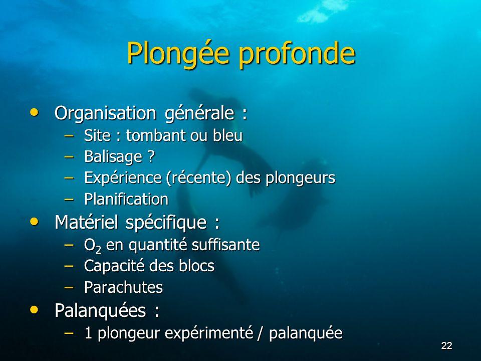 22 Plongée profonde Organisation générale : Organisation générale : –Site : tombant ou bleu –Balisage ? –Expérience (récente) des plongeurs –Planifica
