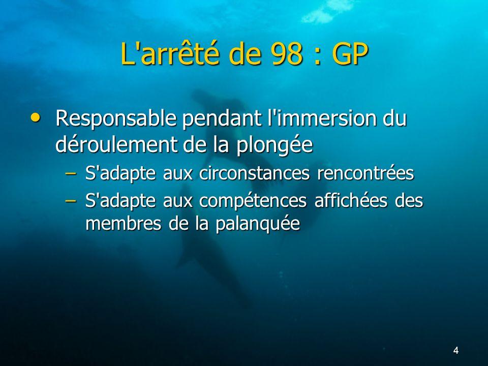 4 L'arrêté de 98 : GP Responsable pendant l'immersion du déroulement de la plongée Responsable pendant l'immersion du déroulement de la plongée –S'ada