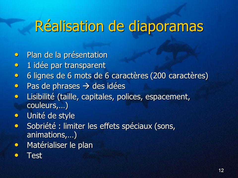 12 Réalisation de diaporamas Plan de la présentation Plan de la présentation 1 idée par transparent 1 idée par transparent 6 lignes de 6 mots de 6 car