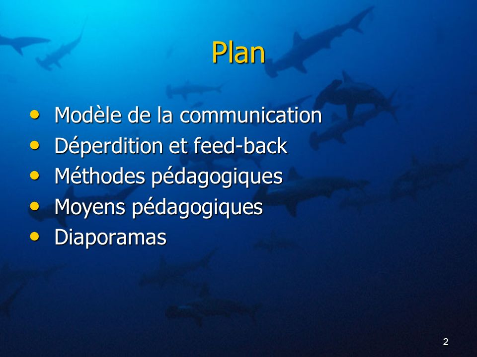 2 Plan Modèle de la communication Modèle de la communication Déperdition et feed-back Déperdition et feed-back Méthodes pédagogiques Méthodes pédagogi