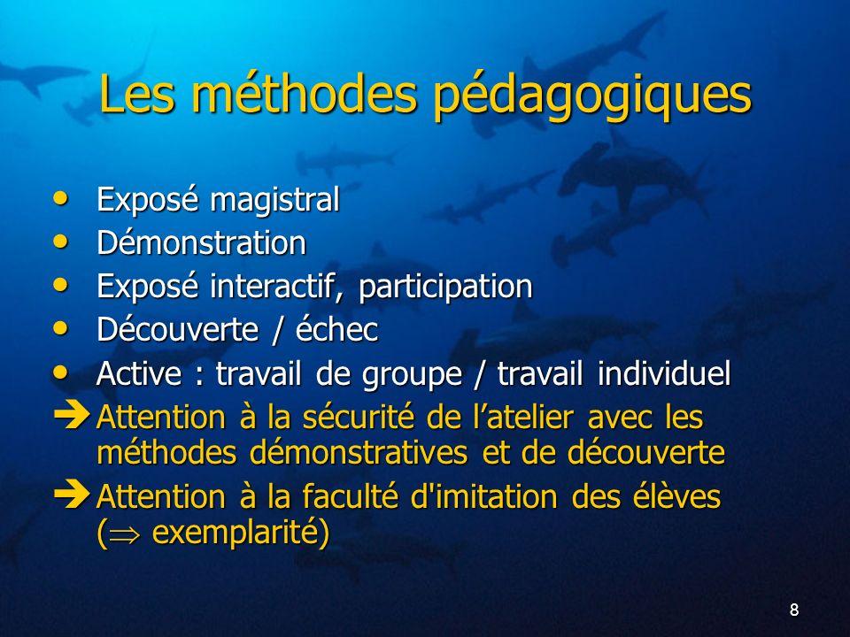 8 Les méthodes pédagogiques Exposé magistral Exposé magistral Démonstration Démonstration Exposé interactif, participation Exposé interactif, particip