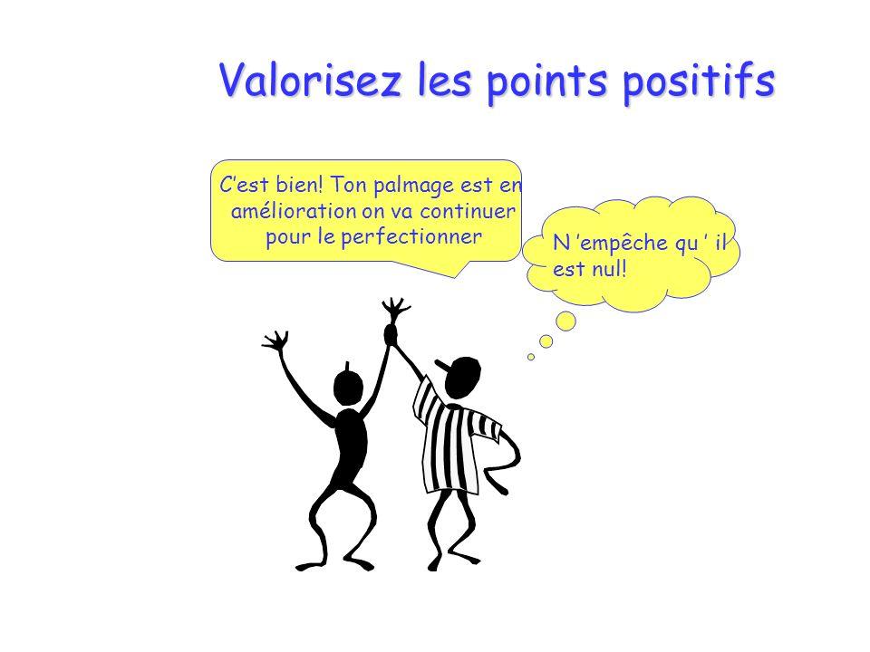 Valorisez les points positifs Cest bien! Ton palmage est en amélioration on va continuer pour le perfectionner N empêche qu il est nul!